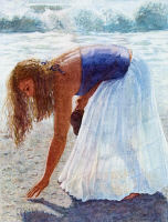 Watercolor painting - Beach Combing