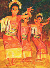 Watercolor art - Dance in Bali Tradition