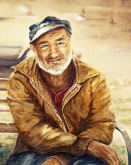 watercolor painting - Old Man's Story